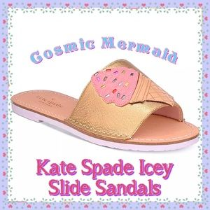 💖Kate Spade Icey Leather Open Toe Slide Sandals💖